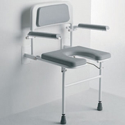 Wall Mounted Seat w/ Arms, Back and Hygiene Recess