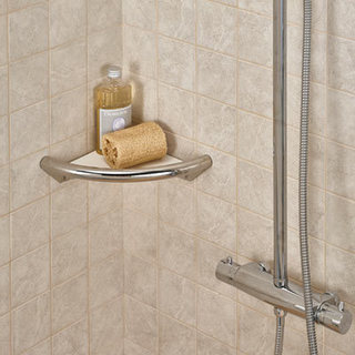 Spa Corner Shelf with Integrated Grab Rail