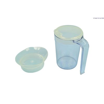 Clear Drinking Cup with Handle and 2 Lids