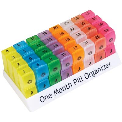 One Month Pill Organiser With Removable Compartments Careco