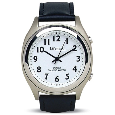 Mens White Dial with Leather Strap - Talking Atomic Watch