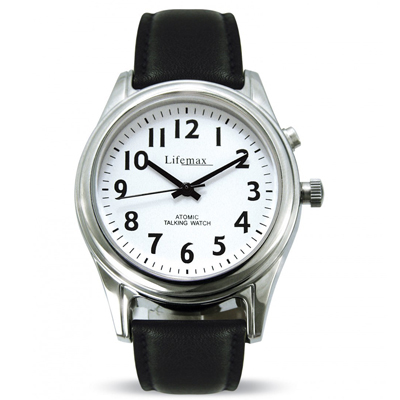 Ladies White Dial with Leather Strap - Talking Atomic Watch
