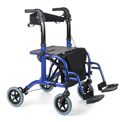 Tandem Duo Rollator Amp Transit Wheelchair Blue Walking