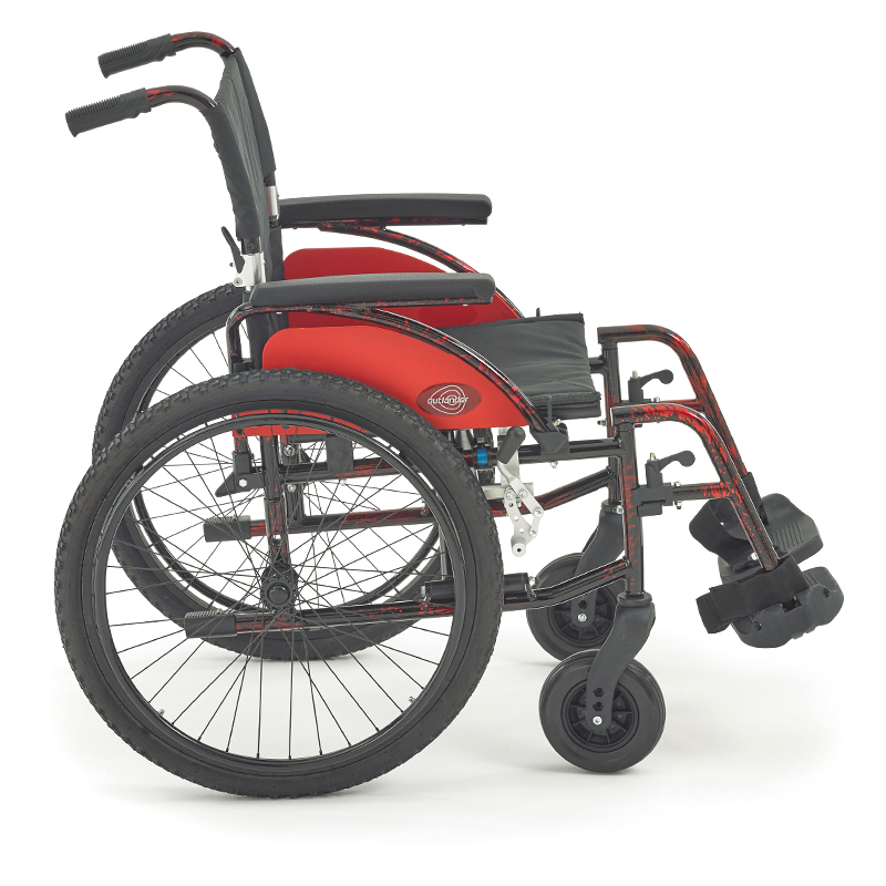 a red all terrain self propelled wheelchair