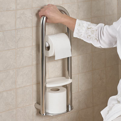 Spa Toilet Roll Holder with Integrated Grab Rail